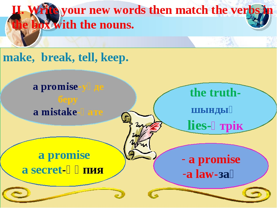 II. Write your new words then match the verbs in the box with the nouns. make...