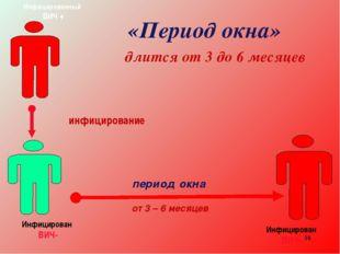 * «Период окна» длится от 3 до 6 месяцев период окна от 3 – 6 месяцев инфицир