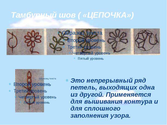 Тамбурный шов ( «ЦЕПОЧКА») Это непрерывный ряд петель, выходящих одна из друг...