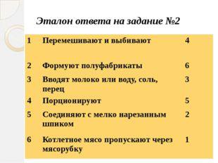 Эталон ответа на задание №2 1 Перемешивают и выбивают 4 2 Формуют полуфабрика
