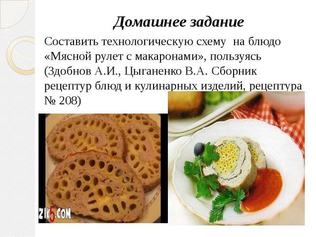 Домашнее задание Составить технологическую схему на блюдо «Мясной рулет с мак...
