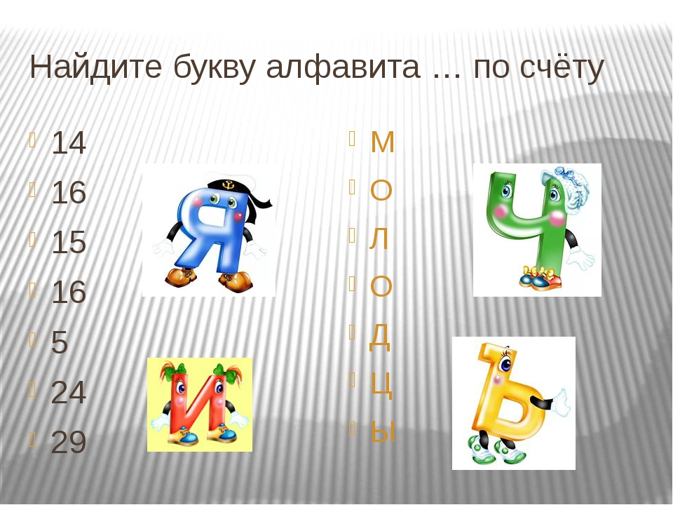 Найдите букву алфавита … по счёту 14 16 15 16 5 24 29 М О Л О Д Ц Ы
