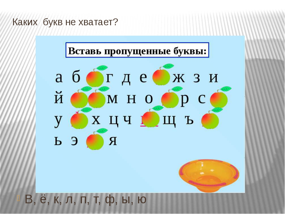 Каких букв не хватает? В, ё, к, л, п, т, ф, ы, ю