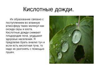 Кислотные дожди. Их образование связано с поступлением во влажную атмосферу