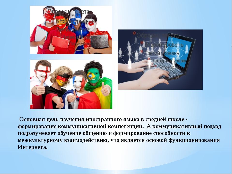 Основная цель изучения иностранного языка в средней школе - формирование ком...