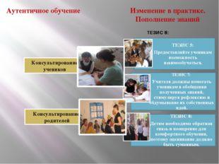 Аутентичное обучение Консультирование учеников Консультирование родителей Изм