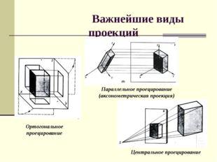 Важнейшие виды проекций Ортогональное проецирование Параллельное проецирован
