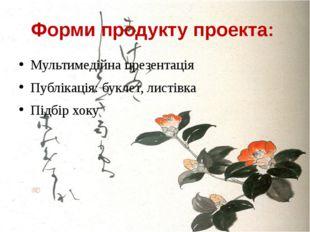 Форми продукту проекта: Мультимедійна презентація Публікація: буклет, листівк