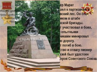 Марат Казей Пионер Марат Казей ушел к партизанам в Станьковский лес. Он стал
