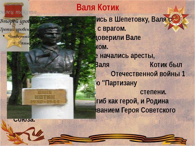 Валя Котик Когда фашисты ворвались в Шепетовку, Валя с друзьями решил борот...