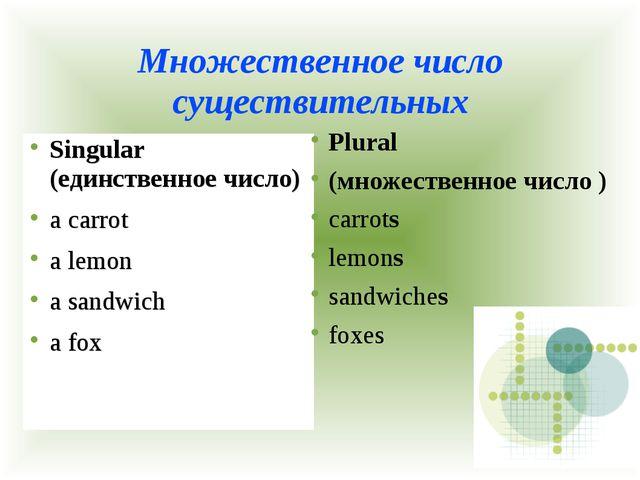 Множественное число существительных Singular (единственное число) a carrot a...