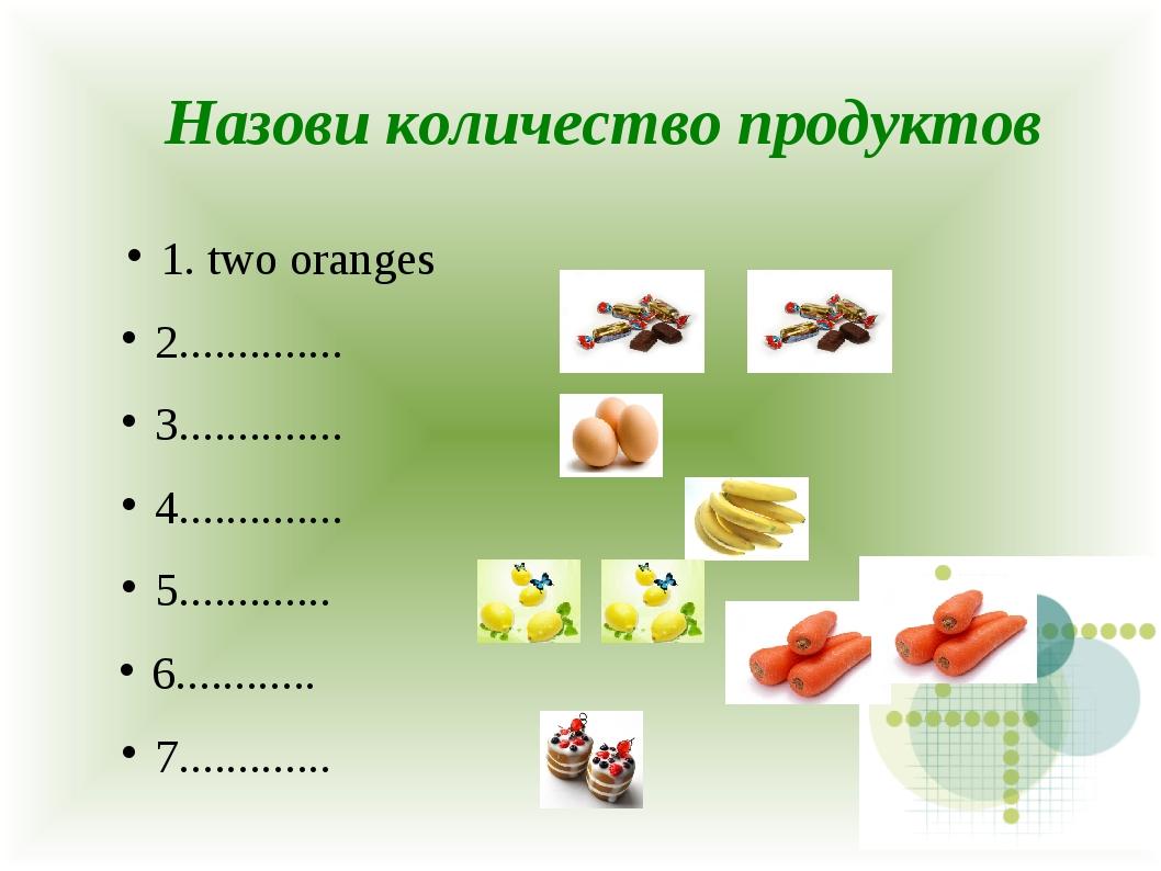 1. two oranges 2.............. 3.............. 4.............. 5..............