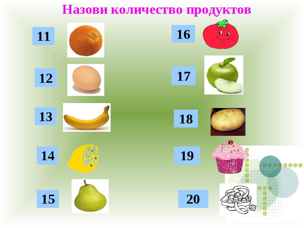 Назови количество продуктов