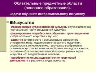 Обязательные предметные области (основное образование). Задачи обучения изобр