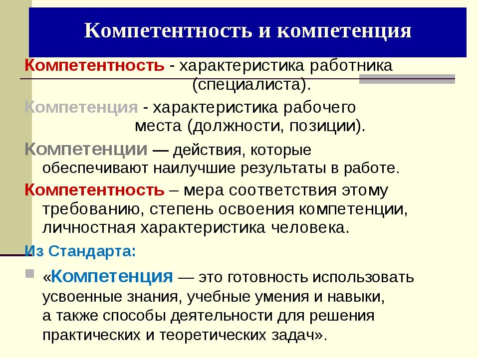 Компетентность и компетенция Компетентность - характеристика работника  (с...