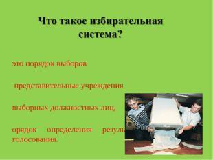 Ээто порядок выборов в представительные учреждения выборных должностных лиц,