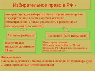 Избирательное право в РФ - это право граждан избирать и быть избранными в орг
