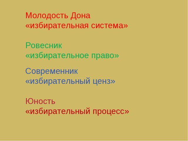 Молодость Дона «избирательная система» Ровесник «избирательное право» Совреме...