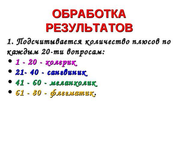 ОБРАБОТКА РЕЗУЛЬТАТОВ 1. Подсчитывается количество плюсов по каждым 20-ти воп...