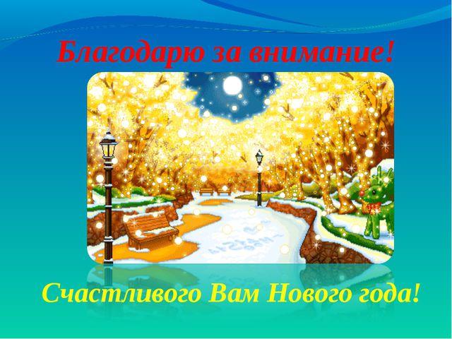 Благодарю за внимание! Счастливого Вам Нового года!