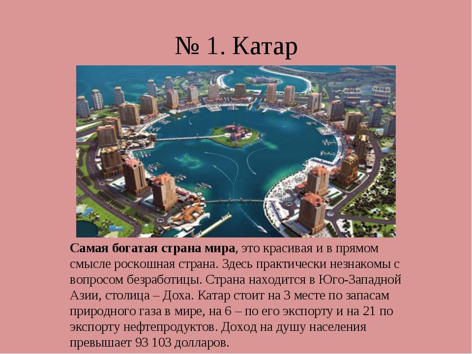 № 1. Катар Самая богатая страна мира, это красивая и в прямом смысле роскошна...