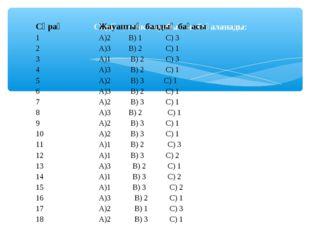 Сіздің тестік жауабыңыз бағаланады: Сұрақ Жауаптың балдық бағасы 1А)2 В) 1