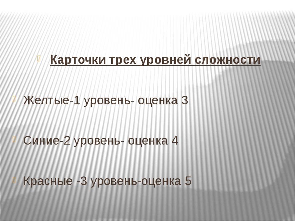 Карточки трех уровней сложности Желтые-1 уровень- оценка 3 Синие-2 уровень-...