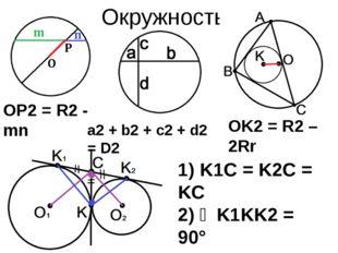 Окружность OP2 = R2 - mn a2 + b2 + c2 + d2 = D2 OK2 = R2 – 2Rr 1) K1C = K2C =