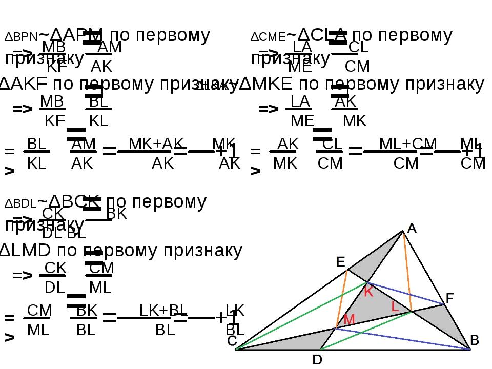 ΔBPN~ΔAPM по первому признаку = => MB AM KFAK ΔAMB~ΔAKF по первому признаку...