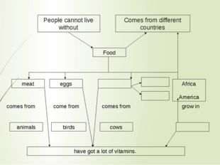 People cannot live without Comes from different countries Food meat eggs Afri