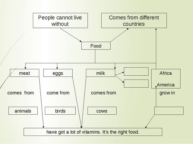 People cannot live without Comes from different countries Food meat eggs milk...