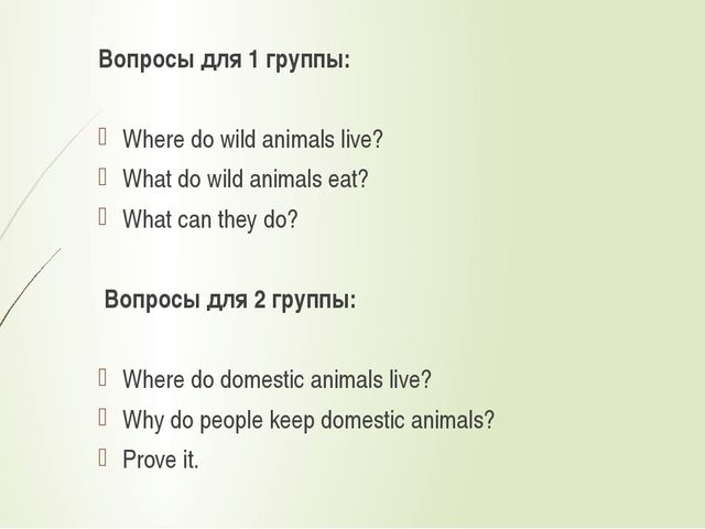 Вопросы для 1 группы:  Where do wild animals live? What do wild animals eat?...