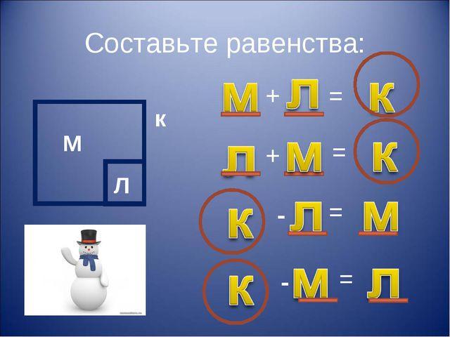 Составьте равенства: М Л к + + = = - = = -