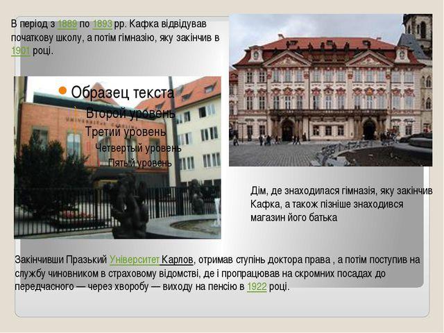 В період з 1889 по 1893рр. Кафка відвідував початкову школу, а потім гімназ...