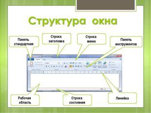 Панель стандартная Строка заголовка Строка меню Панель инструментов Рабочая о