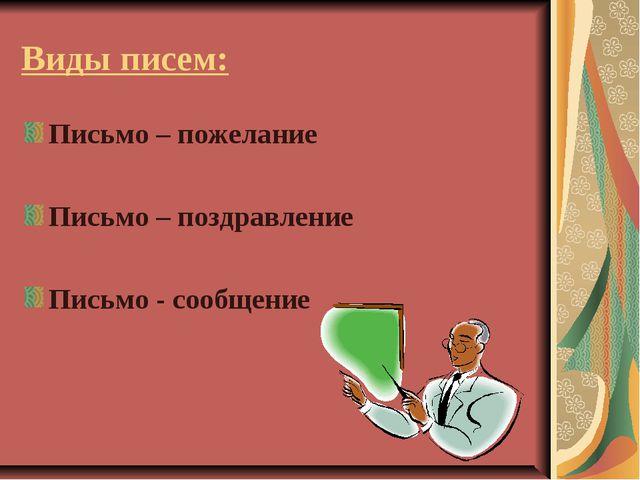 Виды писем: Письмо – пожелание Письмо – поздравление Письмо - сообщение