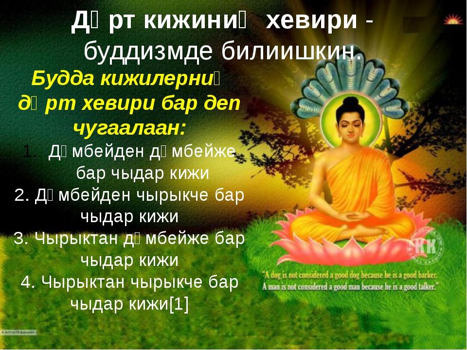 Дөрт кижиниң хевири- буддизмде билиишкин. Буддакижилерниң дөрт хевири бар д...
