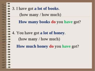 3. I have got a lot of books. (how many / how much) 4. You have got a lot of