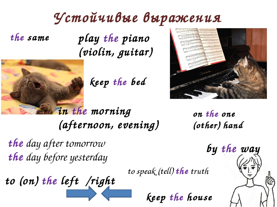 Устойчивые выражения to (on) the left /right by the way play the piano (violi...