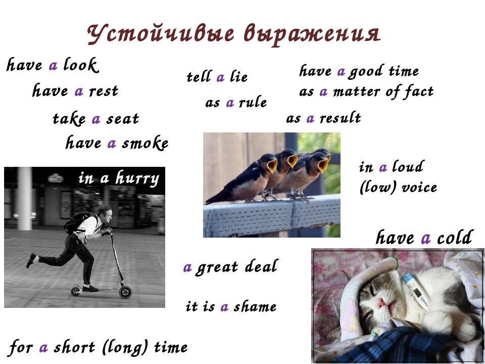 Устойчивые выражения have a look in a loud (low) voice have a good time as a...