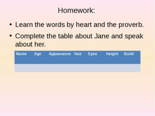 Homework: Learn the words by heart and the proverb. Complete the table about