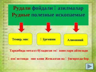 Рудали фойдали қазилмалар Рудные полезные ископаемые Темир, мис Қўргошин Алюм