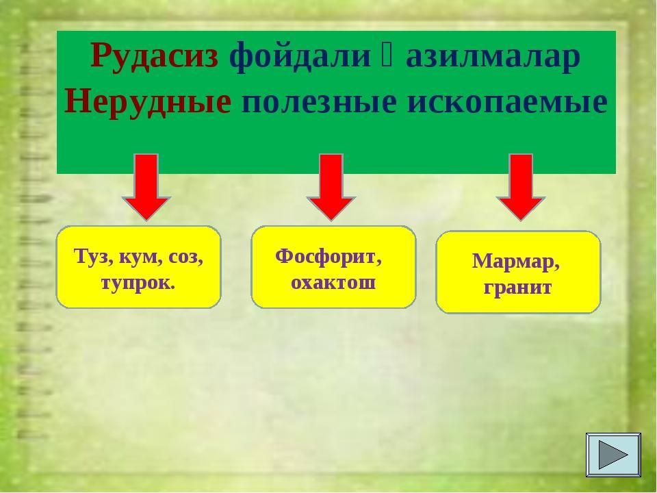 Рудасиз фойдали қазилмалар Нерудные полезные ископаемые Туз, кум, соз, тупрок...