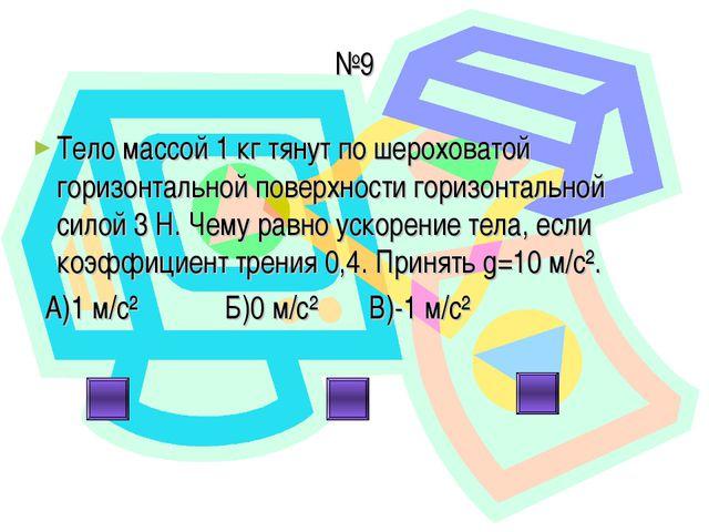 №9 Тело массой 1 кг тянут по шероховатой горизонтальной поверхности горизонта...