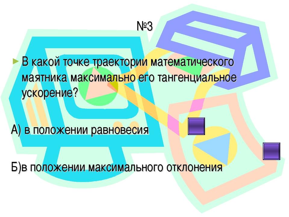 №3 В какой точке траектории математического маятника максимально его тангенци...