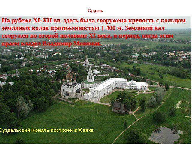 Суздаль Суздальский Кремль построен в X веке. На рубеже XI-XII вв. здесь был...
