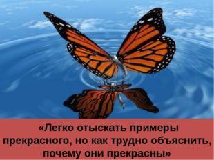 «Легко отыскать примеры прекрасного, но как трудно объяснить, почему они пре
