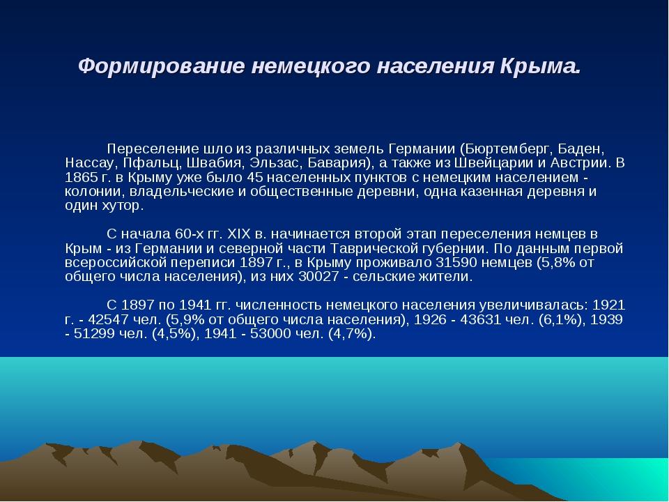 Формирование немецкого населения Крыма.  Переселение шло из различных земе...