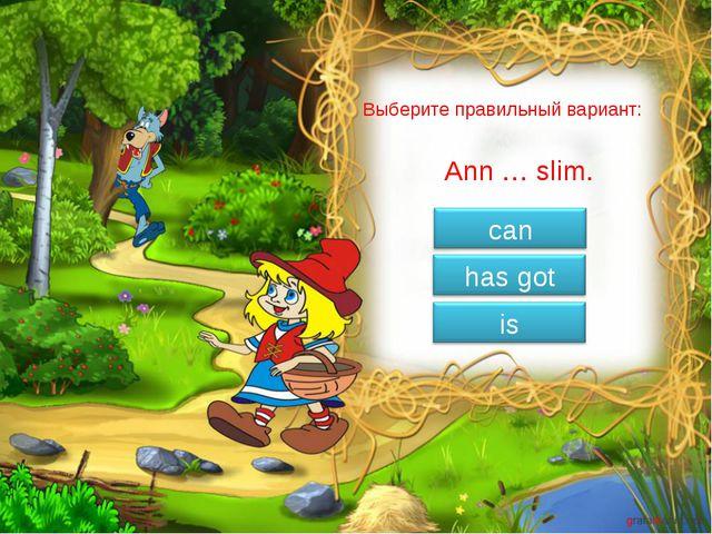 Выберите правильный вариант: Ann … slim.