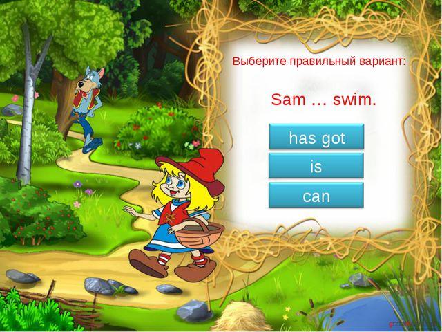 Выберите правильный вариант: Sam … swim.
